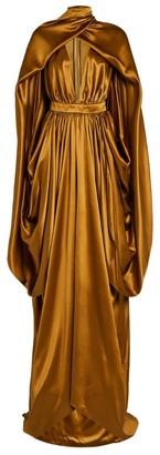 Balmain Silk Satin Caped Gown