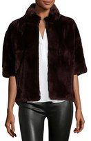 Diane von Furstenberg Rabbit Fur Bolero Jacket, Wine