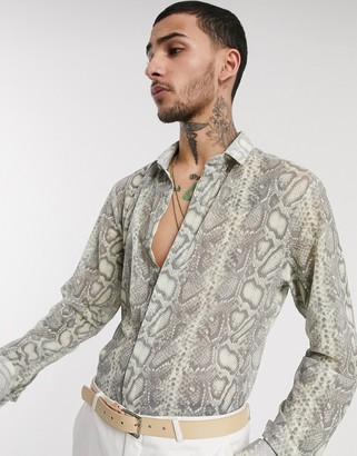 Twisted Tailor mesh shirt with snakeskin print in cream