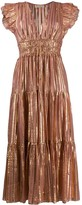 Ulla Johnson Pleated Metallic Striped Dress