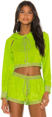 Luli Fama Cut Out Cropped Hoodie
