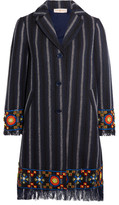Tory Burch Luna Embellished Cotton-blend Tweed Coat - Midnight blue