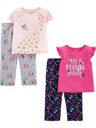 Carter's Simple Joys by Girls' Toddler 4-Piece Pajama Set (Short Sleeve Poly Top & Fleece Bottom)