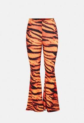 Missguided Orange Tiger Print Flare Pants