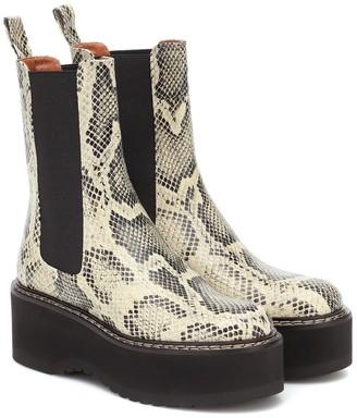 Paris Texas Snake-effect leather platform boots