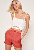 Missguided Satin High Waisted Shorts Pink