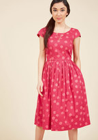 Emily And Fin Unmatched Panache Midi Dress in Dotted Magenta in XXS
