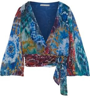 Alice + Olivia Bray Cropped Tie-dyed Silk-georgette Wrap Top