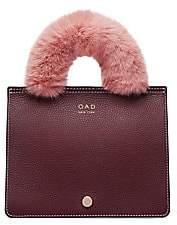 OAD Women's Mini Prism Faux Fur-Trim Leather Satchel