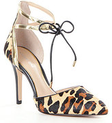 Gianni Bini Renell Leopard-Print Haircalf Ankle-Strap Pointed-Toe Pumps