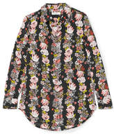 Equipment Essential Floral-print Silk Crepe De Chine Shirt - Black