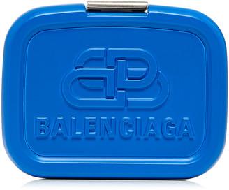 Balenciaga Lunch Box Logo-Embossed Resin Mini Clutch