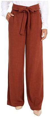 bobi Los Angeles Black Label Fold-Over Tie Pants in Indio Linen (Rust) Women's Casual Pants