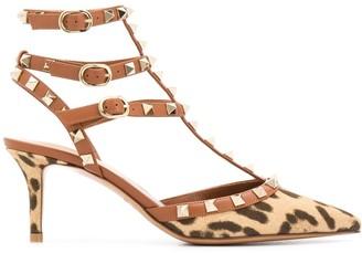 Valentino Rockstud leopard-print sandals