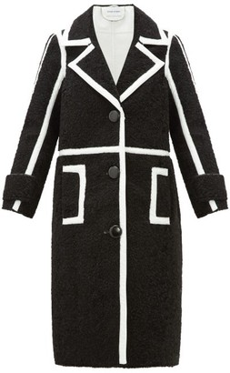 Kenzie Stand Studio Patent-edged Faux-shearling Coat - Womens - Black