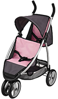 John Lewis Doll Twin Pushchair, Pink/Grey