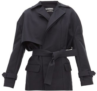 Jacquemus Carini Asymmetrical Storm Flap Trench Jacket - Womens - Navy