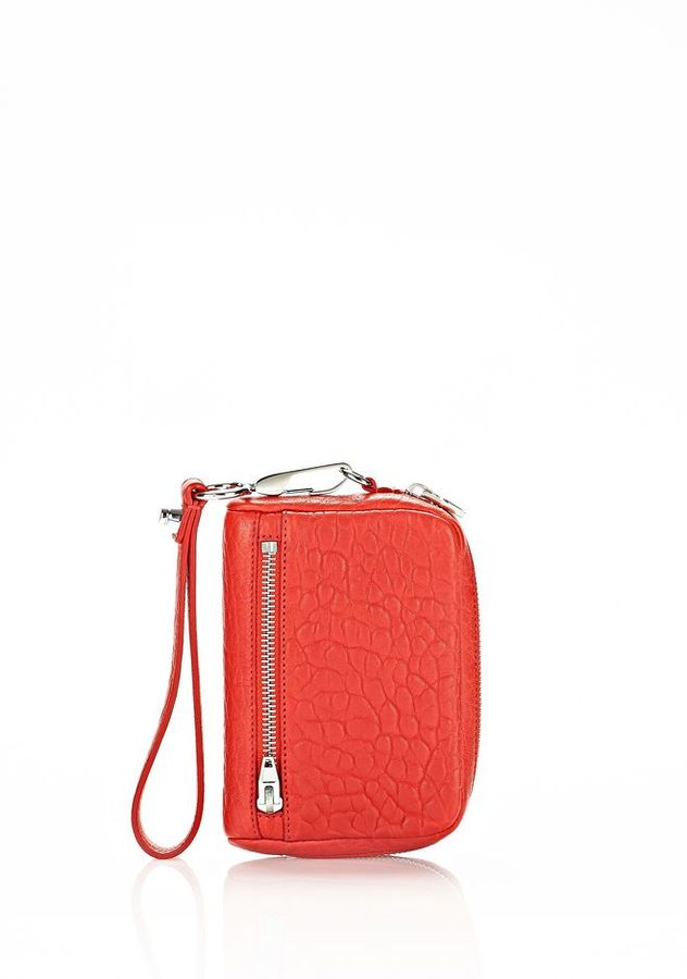 Alexander Wang Fumo Large Wallet In Cola With Rhodium