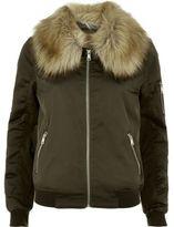 River Island Womens Khaki faux fur collar bomber jacket