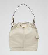 Reiss Navarre LEATHER BUCKET BAG
