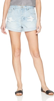 EVIDNT Women's Essen Relaxed MID Rise Light Distressed Denim Shorts