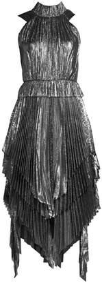 Flor Et. Al Eva Pleated Lurex High-Neck Handkerchief Dress