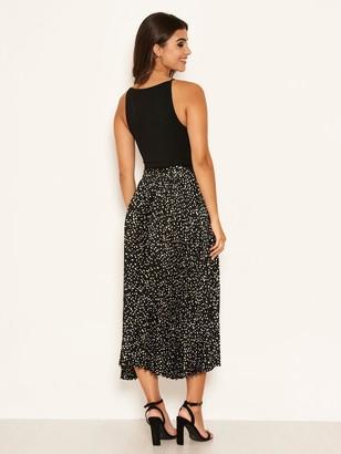 AX Paris Spotty Pleated Midi Skirt - Black