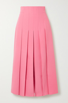 Akris Pleated Wool-blend Midi Skirt - Pink