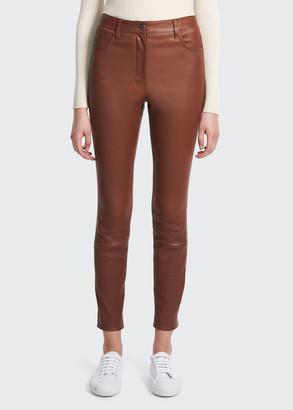 Theory High-Waist Leather Jeans