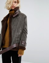 J.o.a. Oversized Biker Jacket With Faux Shearling Lining