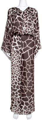 Roberto Cavalli Brown Printed Silk Front Slit Detail Sheer Maxi Kaftan L