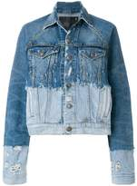 R 13 contrast denim jacket