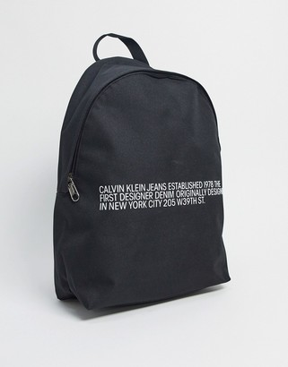 Calvin Klein Jeans text logo backpack in black