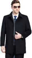 FASHINTY Men's Classical Bussiness Style Turndown Collar Slim Fit Wool Coat S