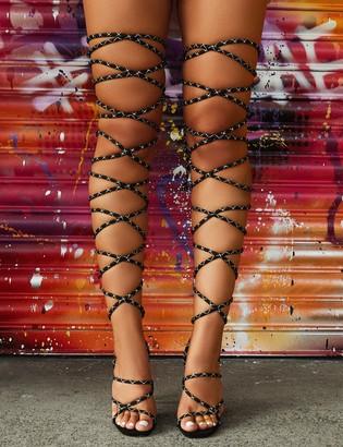 Public Desire Uk Losin' It Extreme Lace Up Set Back High Heels