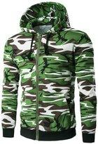 LUNIWEI Mens Zip Up Hooded Hoodies Camouflage Sweatshirt Outwear
