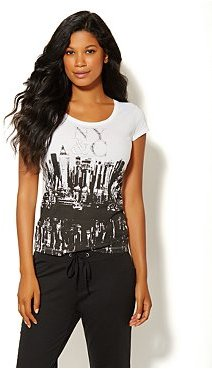 New York & Co. Love NY&C Collection - Black & White Skyline Graphic Tee