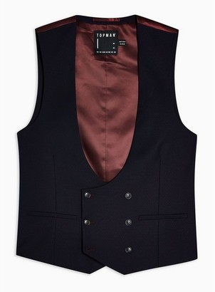 Topman Mens Red Burgundy Double Breasted Suit Vest
