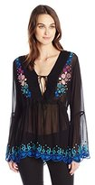 Nicole Miller Women's Sunset Flowers Embroidery Tunic