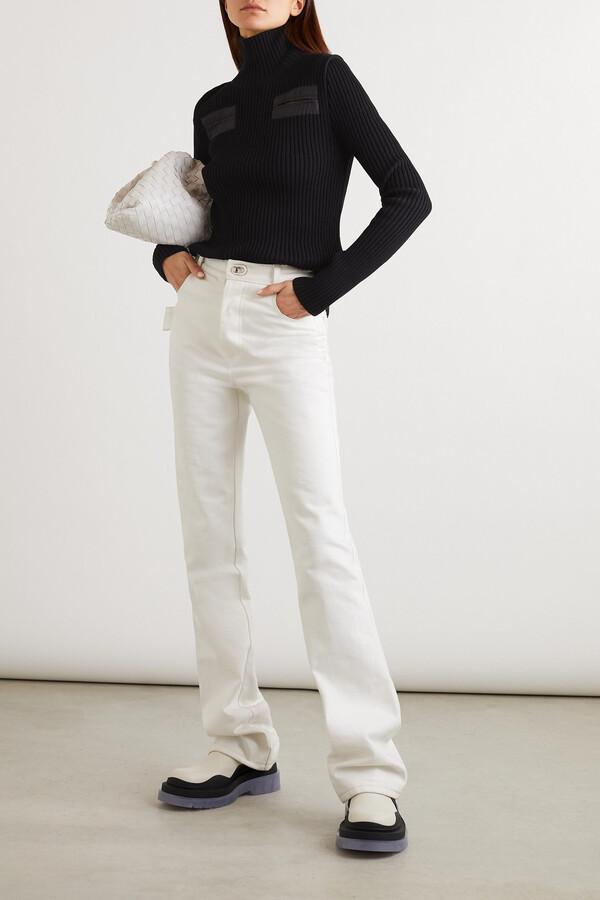 Thumbnail for your product : Bottega Veneta Cutout Shell-trimmed Ribbed Wool-blend Turtleneck Sweater - Black
