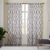 west elm Cotton Canvas Scribble Lattice Curtains (Set of 2) - Feather Gray