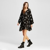 Mossimo Women's Long Sleeve Woven Dress Black Print Juniors')