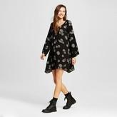 Women's Long Sleeve Woven Dress Black Print - Mossimo Supply Co. (Juniors')