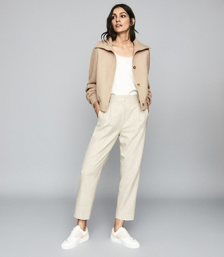 Reiss Iris - Cropped Knitted Bomber Jacket in Neutral
