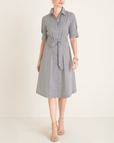 Chico's Chicos Striped Tie-Waist Shirt Dress