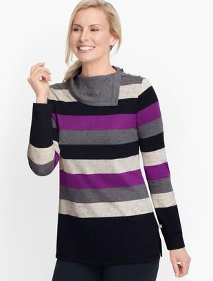 Talbots Split Neck Colorful Stripe Top