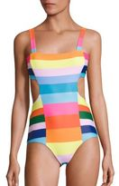 Mara Hoffman Vela Cut Out Rainbow One-Piece Swimsuit