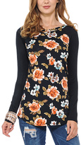 Celeste Black Floral Raglan Top