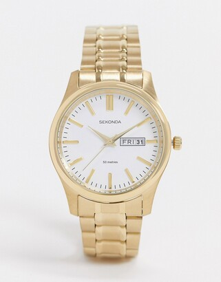 Sekonda bracelet watch in gold with white dial