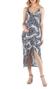 24seven Comfort Apparel Cami Top Black and White Paisley Wrap Maternity Dress